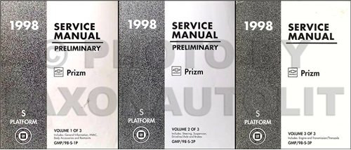 1998 Chevrolet Prizm Preliminary Repair Shop Manual Original 3 Volume Set