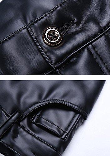 épais en Idopy Faux Jeans été hommes cuir pantalon hiver d'affaires Slim Slim Fit noir cuir Jeans Slim en PtcrcUOWF