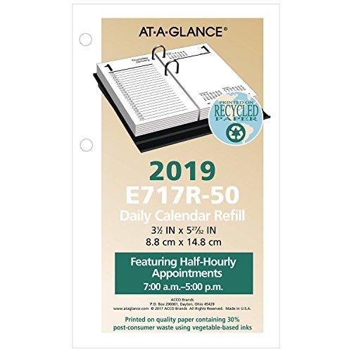 AT-A-GLANCE Daily Desk Calendar Refill, January 2019 - December 2019, 3-1/2