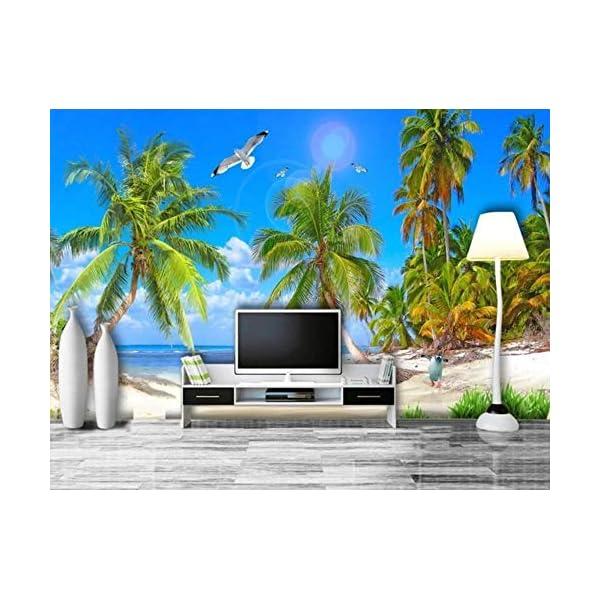 LIWALLPAPER-Carta-Da-Parati-3D-Fotomurali-Albero-Di-Cocco-Del-Gabbiano-Della-Spiaggia-Di-Vista-Sul-Mare-Del-Mare-Camera-da-Letto-Decorazione-da-Muro-XXL-Poster-Design-Carta-per-pareti-200cmx140cm