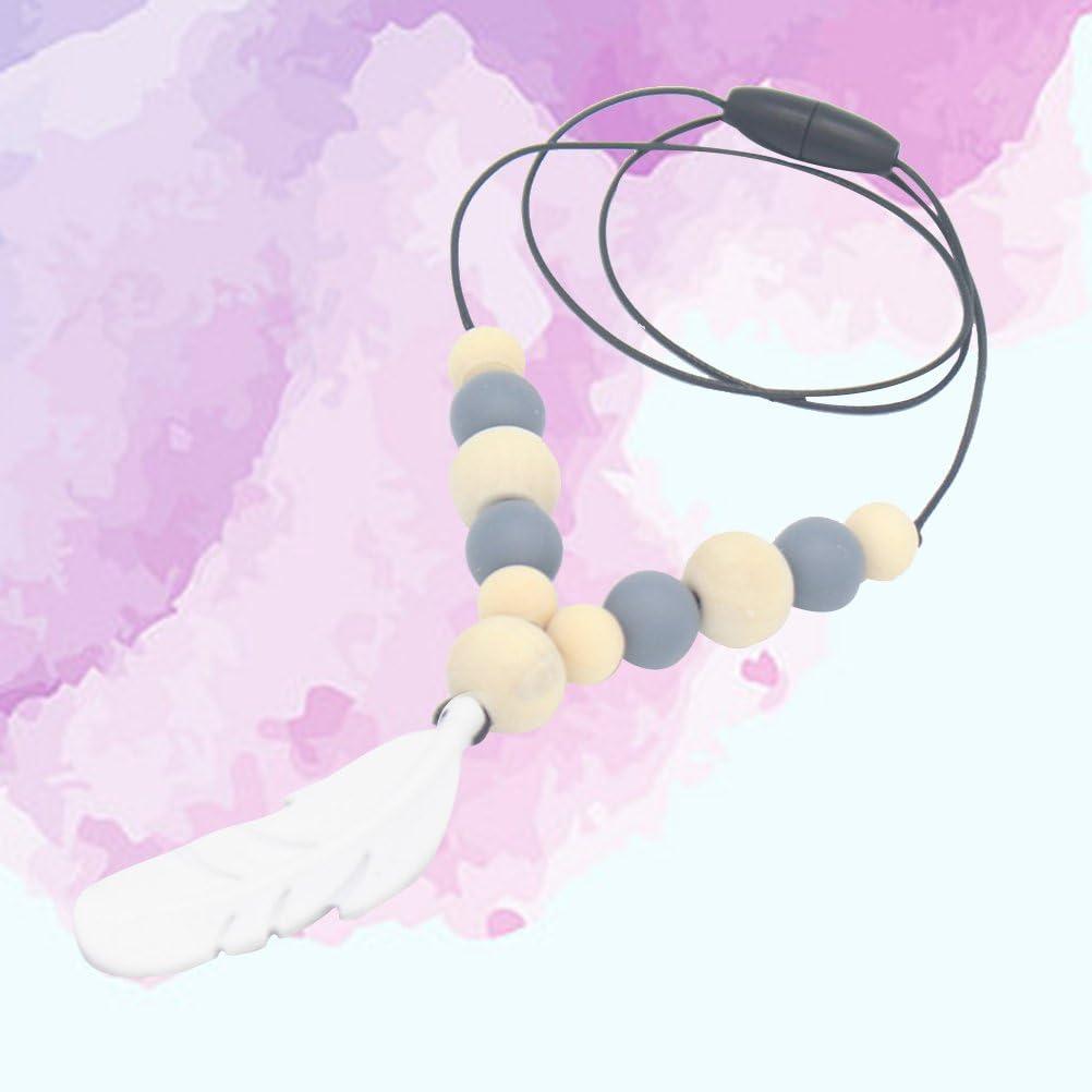 Healifty collar de mordedor de silicona Colgante de pluma de enfermer/¨/ªa mordedor de silicona Chupete de silicona masticar collar de dentici/¨/®n de juguete gris