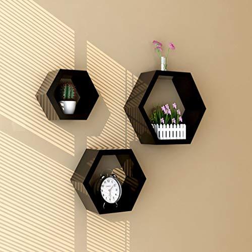 Worthy Shoppee Wooden Wall Shelf Hexagon Shape Storage Wall Shelves Set of 3   Back
