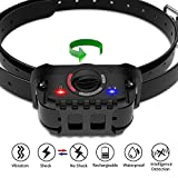 PetFere Dog Bark Collar, Dog Shock Collar, Dog Training Collar IP67 Waterproof Rechargeable Bark Collar with Vibration and Shock Mode for Small/Medium/Large Dogs