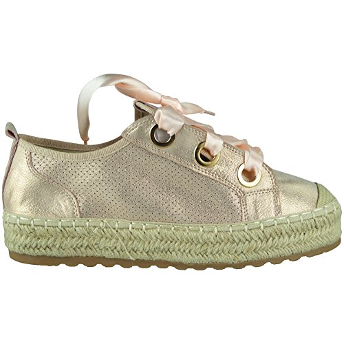 Pumps up Loud Womens Trainers Comfy Espadrilles Lace Look Shoes 3 Champagne Size Flats Ladies Ribbon 8 r881YqRx