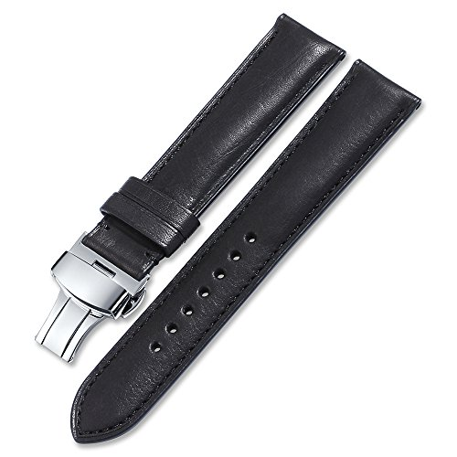 iStrap Calf Leather Watch Strap Quick Release Band Deployant Clasp Replacement 16 18 19 20 21 22 24mm ()