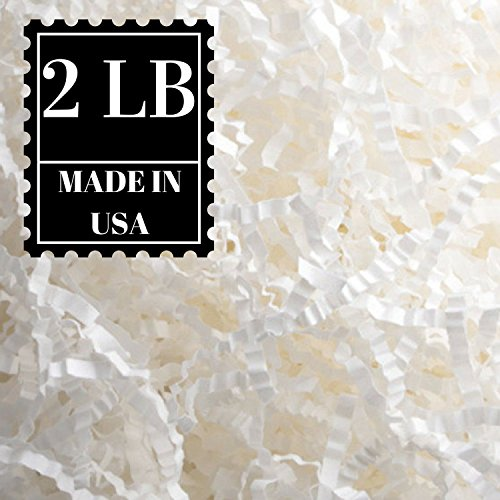 Crinkle Cut Paper Shred Filler for Packing and Filling Gift Baskets, Natural Craft Bedding in Brown Kraft Red Pink White Green Yellow Blue and White ... (2 LB, White)
