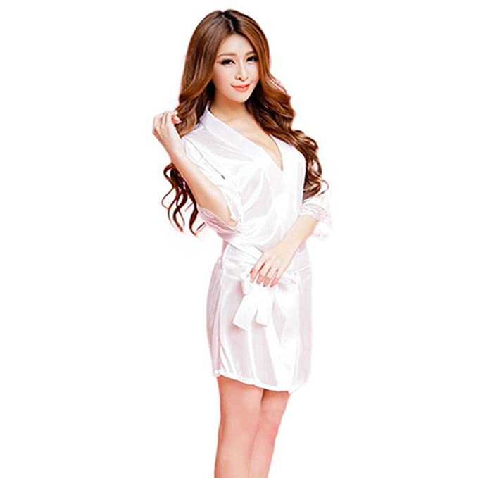 Lencería Sexy ❤️Btruely Herren Ropa Interior Mujer Vestido Mujer Sexy y Elegante de Aspecto Brillante,Satén Camisones Mujer Manga Corta (Blanco): ...