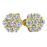 Gold Flower 3D CZ Micro Pave Set Bling Earrings