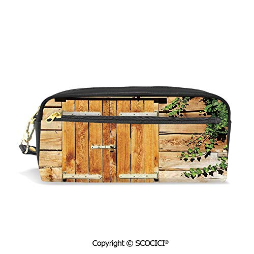 (Printed Pencil Case Large Capacity Pen Bag Makeup Bag Facade of an Old Building Wooden Shutters Traditional House Summer Plants Nature for School Office Work College Travel)