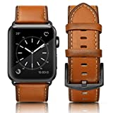 SWEES Leather Band Compatible for Apple Watch 42mm 44mm, Genuine Leather Retro Vintage Wristband Compatible iWatch Series 4, Series 3, Series 2, Series 1, Sports & Edition Men, Orange