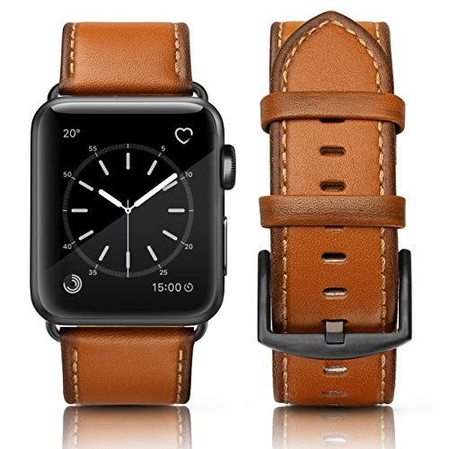 SWEES Leather Band Compatible Apple Watch 42mm 44mm, Genuine Leather Retro Vintage Wristband Compatible iWatch Apple Watch Series 4, Series 3, Series 2, Series 1, Sports & Edition Men, ()