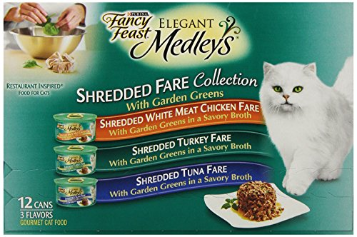 Fancy Feast Elegant Medleys, Shredded Fare Collection Variety Pack, 12 ct, 3 oz