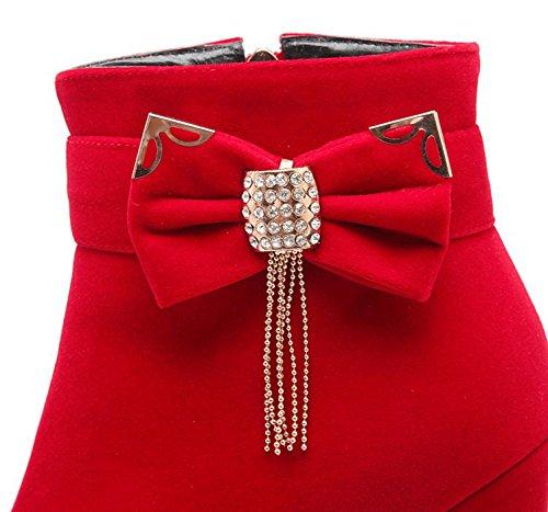 Vestido Con Colgante De Diamantes De Imitación Para Mujer De Imitación De Faux Suede Botines Con Punta Redonda Plataforma Oculta Botines De Tacón Alto Con Lazos Rojos