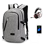 Travel Backpack, Durable 15.6 inch Professional Backpacks with USB Charging Port for Mens Women Slim Lightweight Backpack for College School, Laptop, Computer, Notebook by AM Seablue Grey