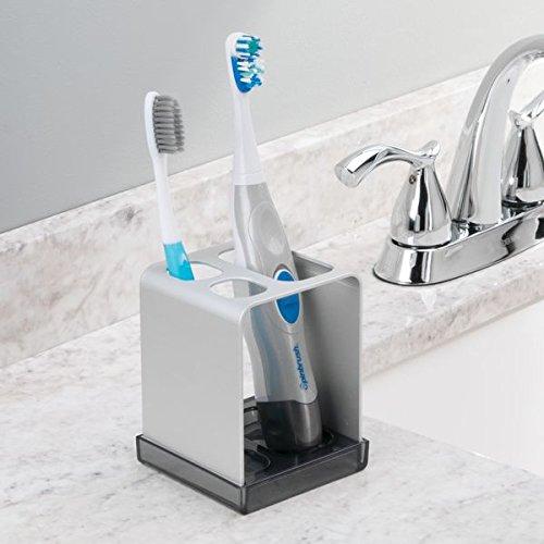 Amazon.com: InterDesign Metro Ultra Toothbrush Holder for Bathroom, Vanity - Silver/Smoke: Home & Kitchen