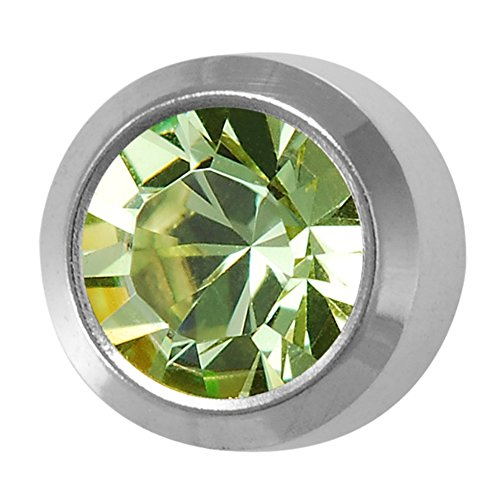Studex August / Peridot Regular 4mm Stainless Steel Bezel Setting Ear Piercing Stud Earrings - Ear Studs Bezel Piercing