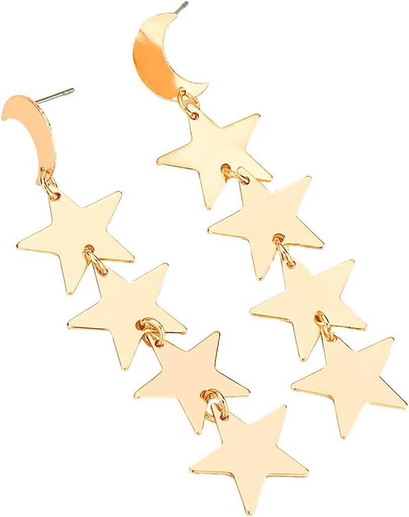 Harilla Pendientes Colgantes De Dorada Brillante De La Estrella Espárragos del Banquete De Boda De La Novia