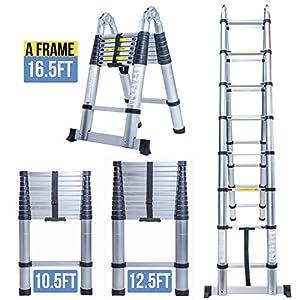 Restonc 10.5FT 12.5FT 16.5FT Aluminum Multi-purpose Telescopic Ladder Foldable Extension (16.5FT A Frame)