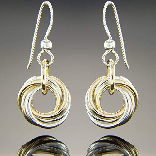 - Petite Mixed Metal Multi Circle Two Tone Knot Dangle Earrings in Silver and 14K Yellow Gold Fill
