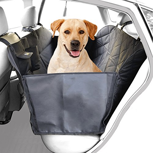 YTAT IED Dog Car Seat Cover Pet Seat Cover for Cars with Hammock,Waterproof Scratch Proof and Anti-slip Backing, Padded & Quilted Durable 3 Layers Car Backseat Cover For Pets (Black)