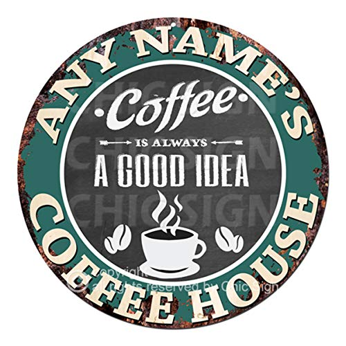 Personalized Sign Shop - Any Name's Coffee House Custom Personalized Chic Tin Sign Rustic Shabby Vintage Style Retro Kitchen Bar Pub Coffee Shop Man cave Decor Gift Ideas