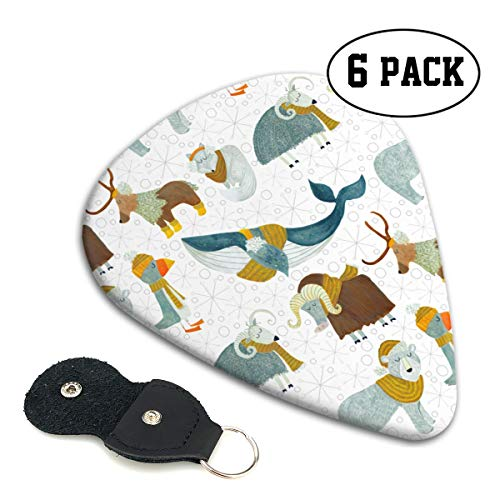 (QVRQ Arctic Animals with Wool Scarves Celluloid Medium Picks Sampler Guitar Pick 6 Pack)