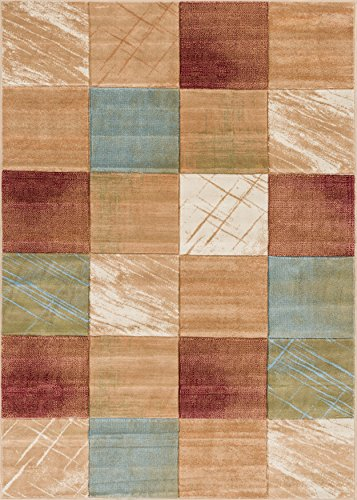 Well Woven Marmo Nuovo Multi Red & Beige Checkerboard Boxes Hand Carved Modern Geometric Area Rug 8 x 10 (7'10