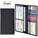 Car Registration Holder - Wisdompro Premium PU Leather Vehicle Glove Box Documents Wallet Case Organizer for ID, Insurance Paperwork, Driver's License, Key Contact Information Cards (Black)