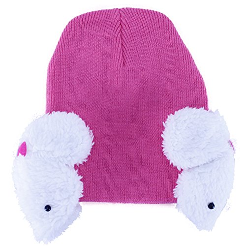 [Baby Winter Hat Knitting Wool Kids Rabbie Earflap Toddlers Cap (rose red)] (0-3 Month Swimming Costumes)