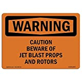Diuangfoong Osha Warning Sign Caution Beware Of Jet Blast Props And Rotors Aluminum Metal Tin 12'x18' Sign Plate