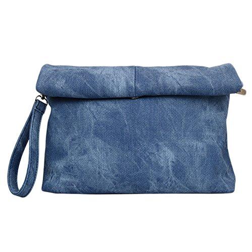 uni-love decorativo diseño de piel sintética Fashion sobre Declaración de Embrague azul claro