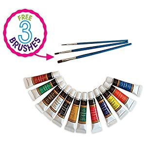 Acrylic Paint Set 12 Colours by Crafts 4 ALL Perfect For Canvas, Wood, Ceramic, Fabric. Non toxic & Vibrant Colors. Rich Pigments Lasting Quality For Beginners, Students & Professional Artist