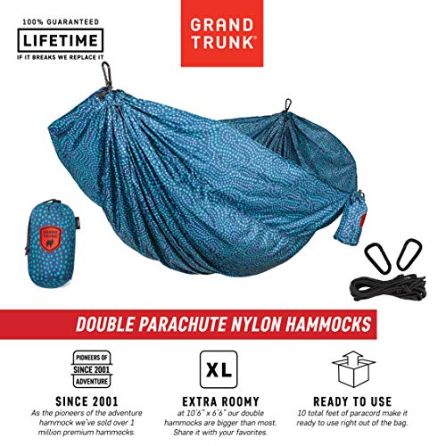 Grand Trunk Double Parachute Printed Nylon Hammock: Portable with Carabiners and Hanging Kit - Perfect for Outdoor Adventures, Backpacking, and Festivals, Batik