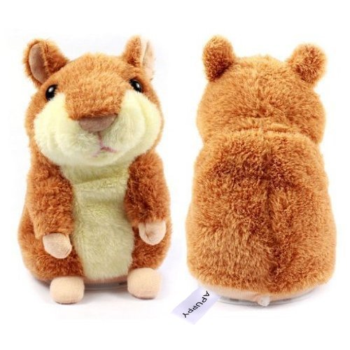 APUPPY Mimicry Pet Talking Hamster Repeats What You Say Plush Animal Toy Electronic Hamster Mouse for Boy and Girl Gift,3 x 5.7 inches( Brown )