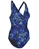 Speedo Women's One Piece Swimsuit Wrap Front Padded Cross Back (Blue, 10)