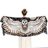 Pure Silk Hand Painted & Digitally Printed Barn Owl Bird Wings Scarf Shawl Wrap
