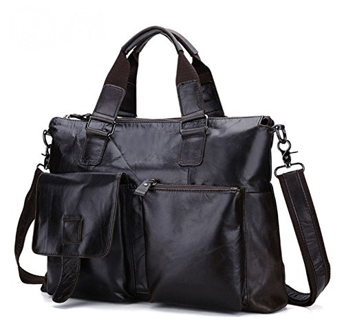 Bao Bags Men Bags For Handbags Business Men Computer Bags Leather Handbags Cow Leather Retro Casual Shoulder Bags, Black Brown