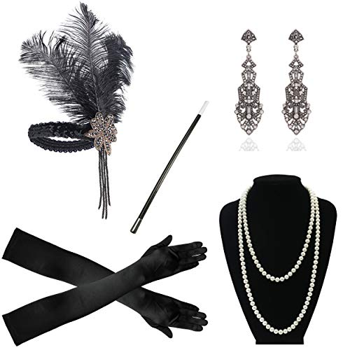 1920s Gatsby Flapper Accessories Headband Pearl Necklace Gloves Cigarette Holder