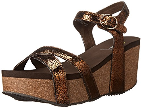 Very Volatile Women's Nocturnal Wedge Sandal, Bronze, 6 B US Bronze Leather Wedge