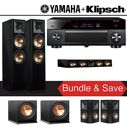 Klipsch RP-280F 5.2-Ch Reference Premiere Home Theater System (Piano Black) with Yamaha AVENTAGE RX-A3070BL 11.2-Channel Network A/V Receiver