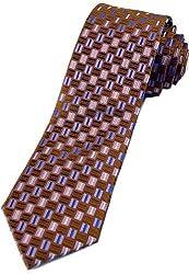 Zarrano Skinny Tie 100% Silk Woven Rust/Pink Geometric Tie