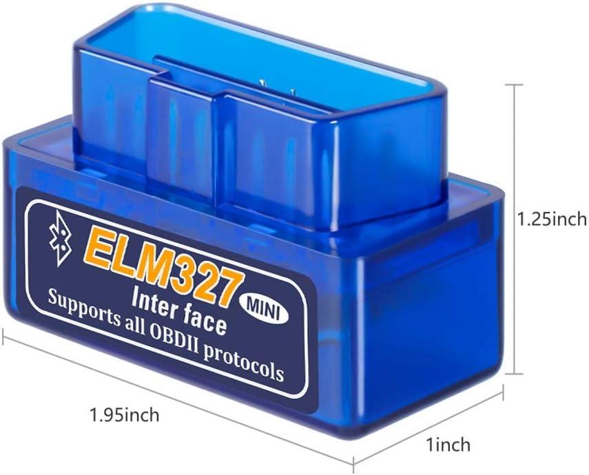 ICDOT Mini Elm327 Bluetooth V1.5 OBD2 Elm 327 V 1.5 OBD 2 Auto Strumento diagnostico diagnostico Auto-Scanner Tool Elm327 Adattatore OBDII Colore : Blu