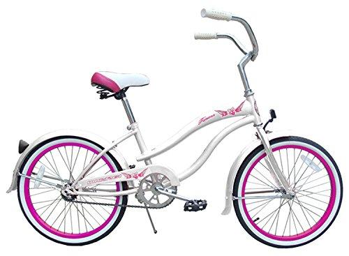 Micargi Famous for Girl White Beach Cruiser Bike Bicycle, 20 Wheel by Micargi B00BPGVGHY