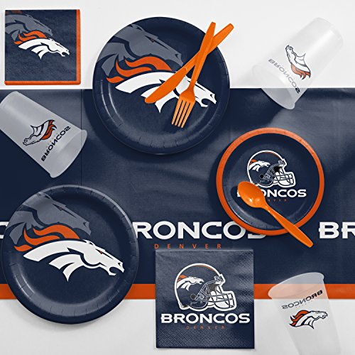 Creative Converting Denver Broncos Game Day Party Supplies Kit, Serves 8