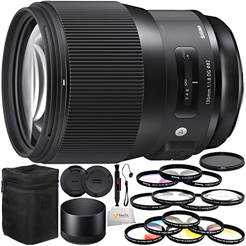 Sigma 135mm f/1.8 DG HSM Art Lens for Nikon F Includes 3PC Filter Kit (UV, CPL, FLD) + Variable Neutral Density Filter (ND2-ND400) + Lens Cleaning Pen + Lens Cap Keeper & More! by Fumfie