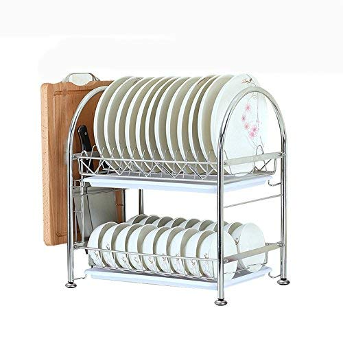 (Kitchen Rack Kitchen Stainless Steel Double Crockery Basket A Drainage Shelf Crockery Shelf Shelving Storage Rack (Color : B))