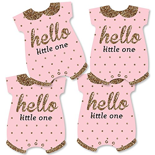 - Hello Little One - Pink and Gold - Baby Bodysuit Girl Baby Shower Decorations DIY Party Essentials - Set of 20