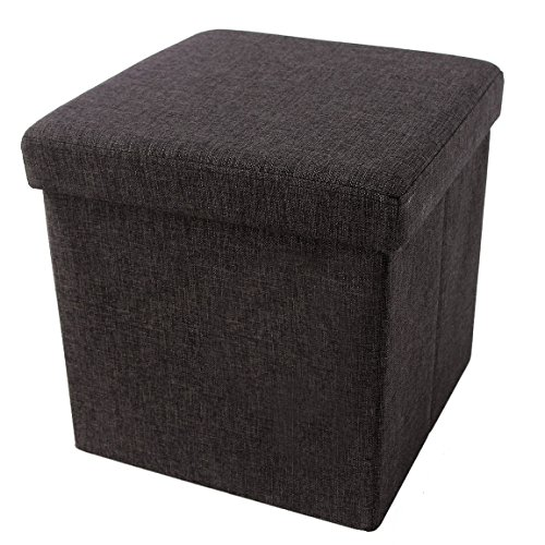 Songmics LSF27K Faltbarer Fußbank Aufbewahrungsbox belastbar bis 300 kg, Stoff, kaffeefarbe, 38 x 38 x 38 cm