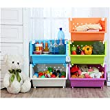 kid storage - MAGDESIGNER 2 Sets Kids' Toys Storage Organizer with Wheels Can Move Everywhere Large Basket Natural/Primary (Primary Collection) (Orange&Green)