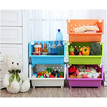 MAGDESIGNER 2 Sets Kidsu0027 Toys Storage Organizer With Wheels Can Move  Everywhere Large Basket Natural